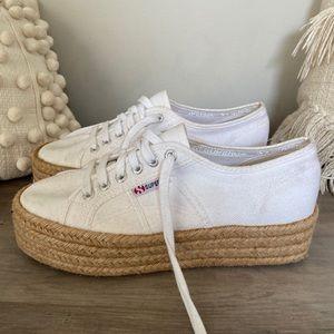 SUPERGA white and tan shoes